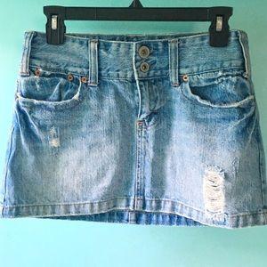 American Eagle Distressed Denim Skirt, Size 4